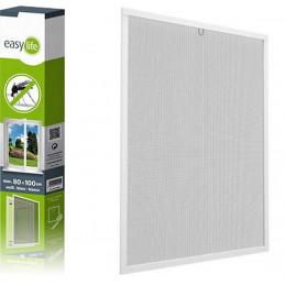 Insektenschutz-Spannrahmen aus Aluminium für Fenster | 100x120 cm | weiß
