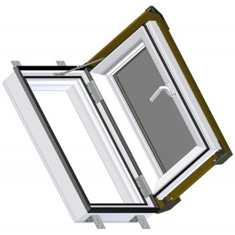 Střešní výlez 45x73 cm plastový, bílý s hnědým oplechováním, SKYLIGHT