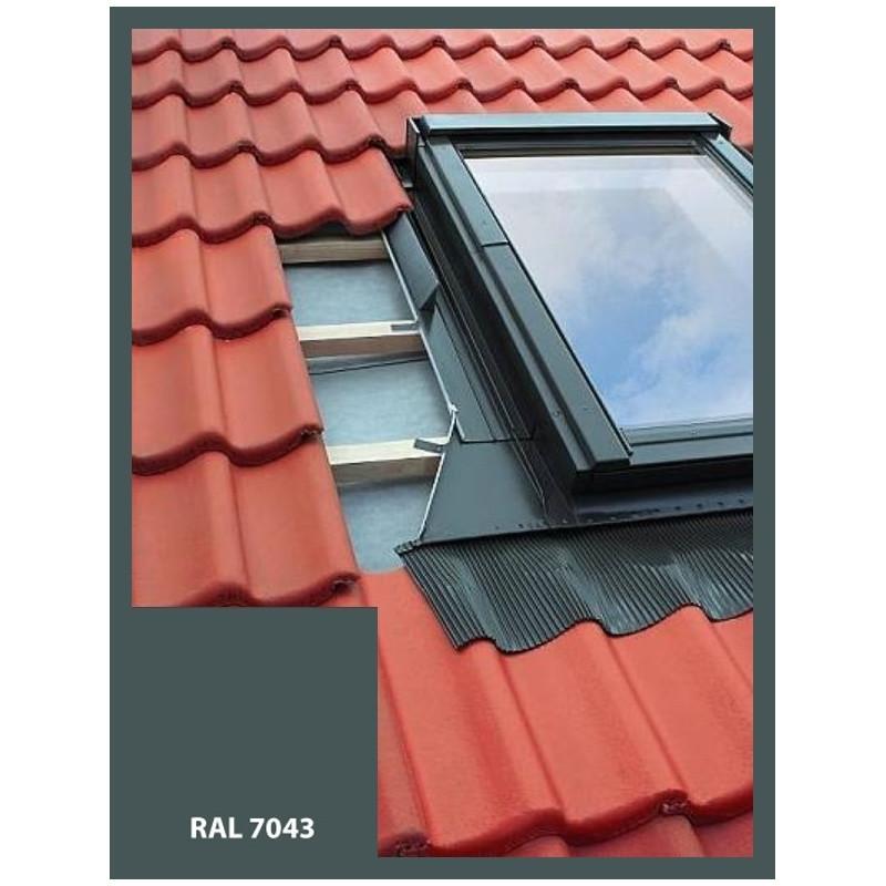 Eindeckrahmen für Dachfenster, Dachausstiegsfenster | 55x78 cm (550x780 mm) | grau| für Profil Bedachung