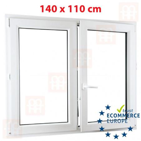 Kunststofffenster   140x110 cm (1400 x 1100 mm)   weiß   Zweiflügelige ohne Pfosten   rechts   6 Kammern