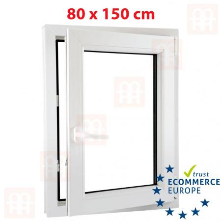 Kunststofffenster   80x150 cm (800x1500 mm)   weiß   Dreh-Kipp-Fenster   rechts   6 Kammern