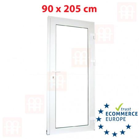 Kunststofftür | 90x205 cm (900x2050 mm) | weiß | Festverglasung| rechts