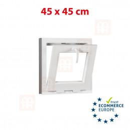 Kunststofffenster   45x45 cm (450x450 mm)   weiß   Kippfenster   6 Kammern