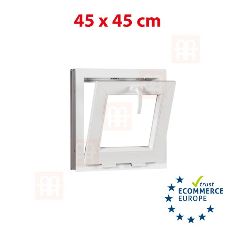 Kunststofffenster | 45x45 cm (450x450 mm) | weiß | Kippfenster | 6 Kammern