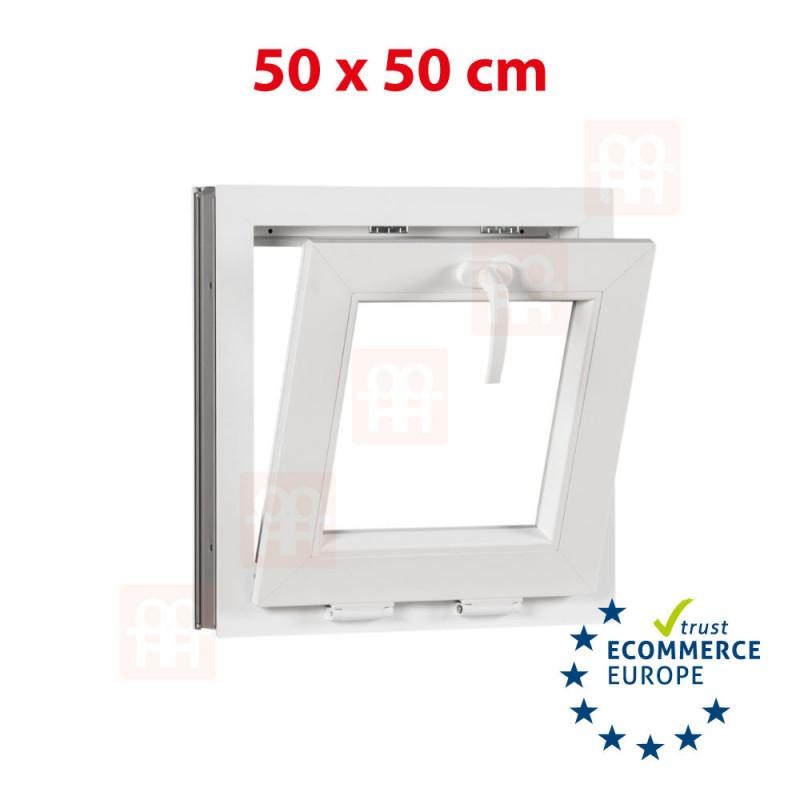Kunststofffenster | 50x50 cm (500x500 mm) | weiß | Kipp-Fenster | 6 Kammern