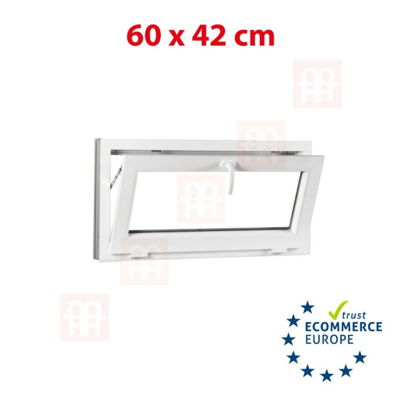 Kunststofffenster | 60x42 cm (600x420 mm) | weiß | Kipp-Fenster | 6 Kammern