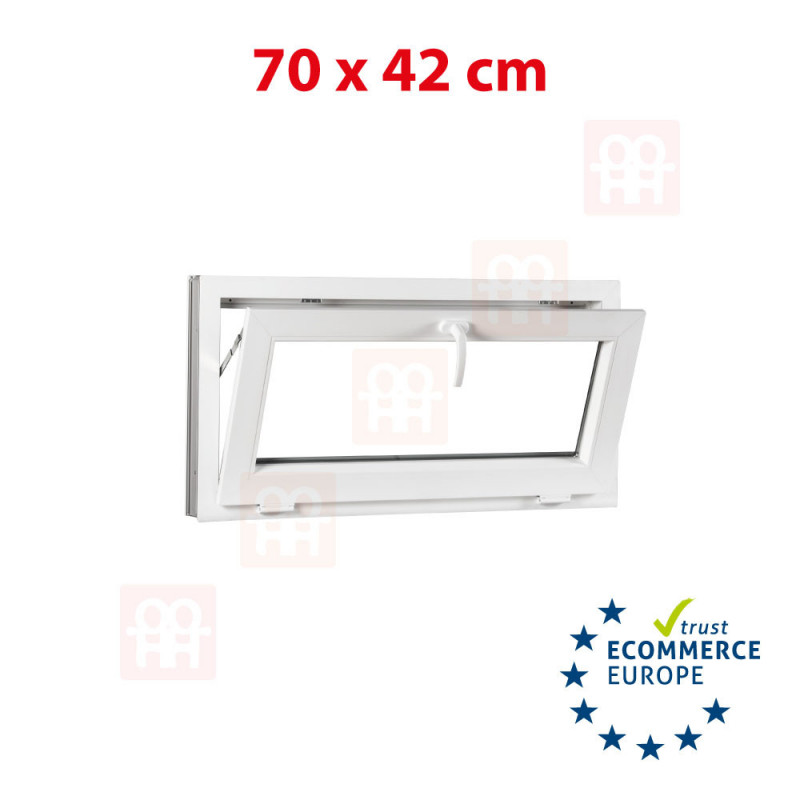 Kunststofffenster | 70x42 cm (700x420 mm) | weiß | Kippfenster | 6 Kammern