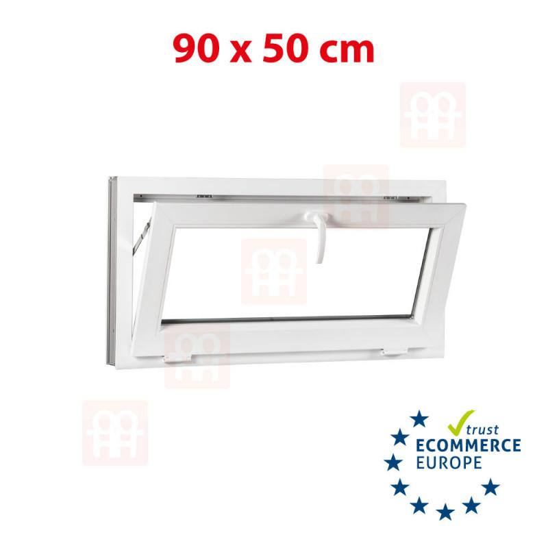 Kunststofffenster   90x50 cm (900x500 mm)   weiß   Kipp-Fenster   6 Kammern