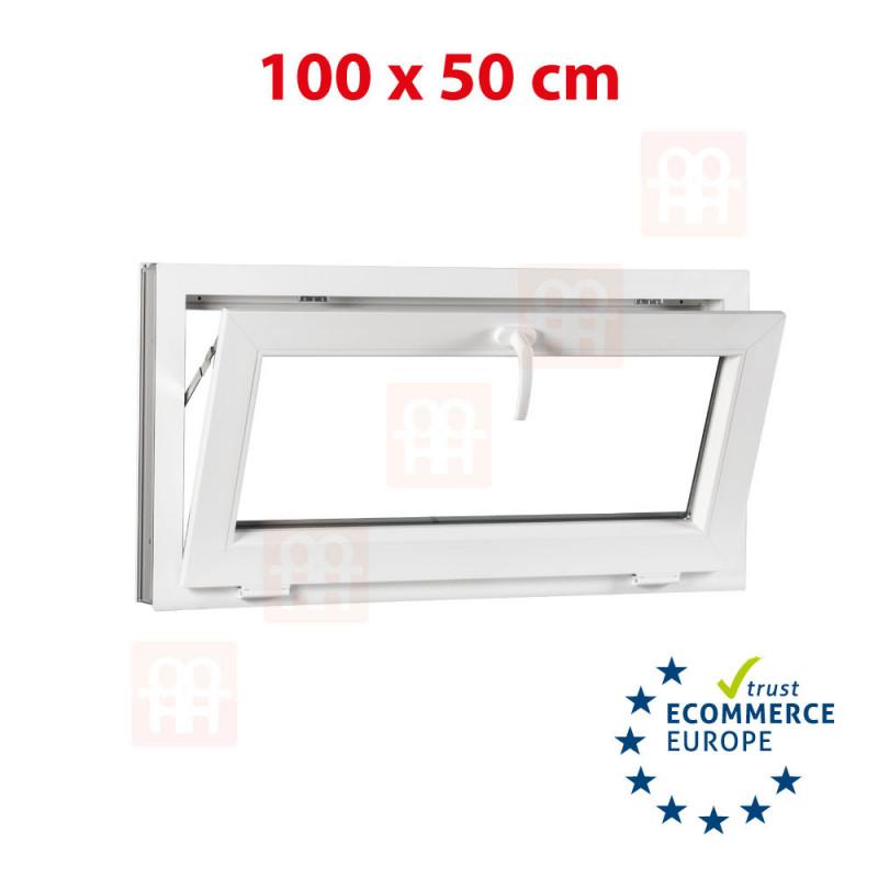 Kunststofffenster | 100x50 cm (1000x500 mm) | weiß | Kippfenster | 6 Kammern