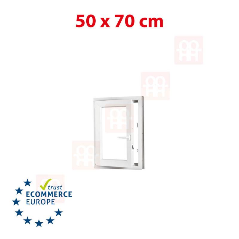 Kunststofffenster | 50x70 cm (500x700 mm) | weiß | Dreh-Kipp-Fenster | links | 6 Kammern
