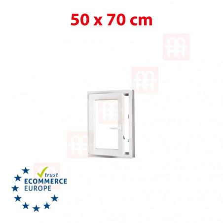 Kunststofffenster | 50x70 cm (500x700 mm) | weiß | Dreh-Kipp-Fenster | links