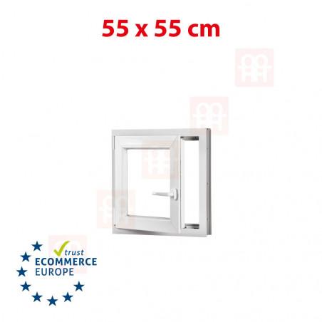 Kunststofffenster | 55x55 cm (550x550 mm) | weiß | Dreh-Kipp-Fenster | links