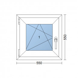 Kunststofffenster | 55x55 cm (550x550 mm) | weiß | Dreh-Kipp-Fenster | links | 6 Kammern