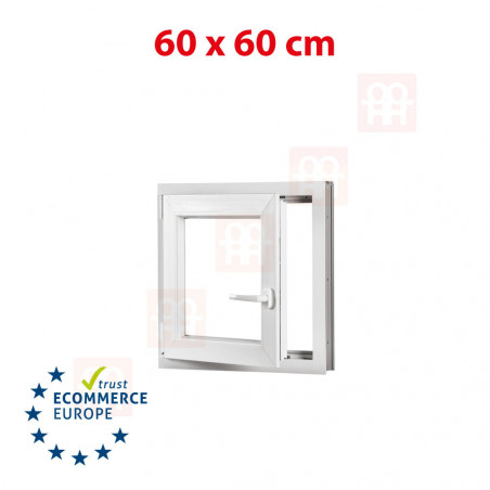 Kunststofffenster | 60x60 cm (600x600 mm) | weiß | Dreh-Kipp-Fenster | links