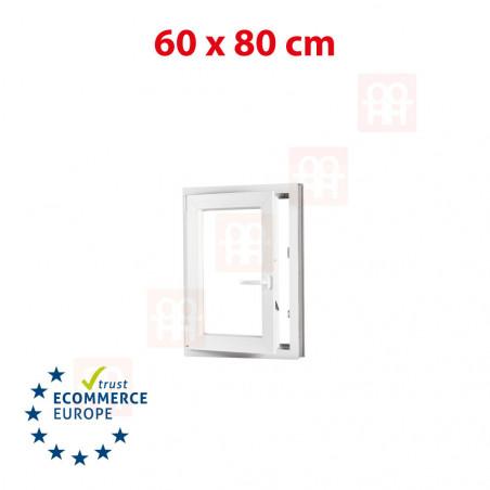Kunststofffenster | 60x80 cm (600x800 mm) | weiß |dreh-kipp | links