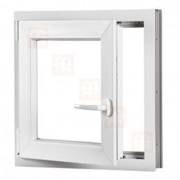Kunststofffenster | 70x70 cm (700x700 mm) | weiß | Dreh-Kipp-Fenster | links | 6 Kammern
