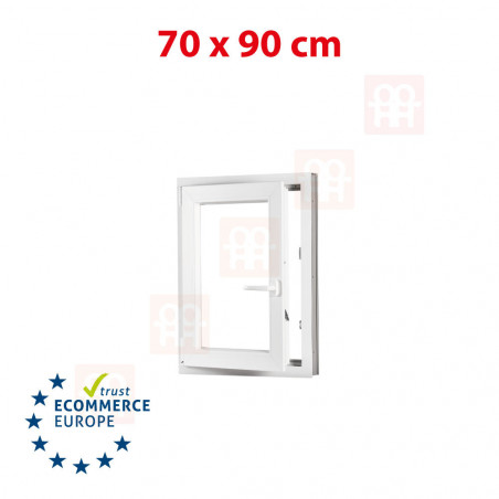 Kunststofffenster | 70x90 cm (700x900 mm) | weiß | Dreh-Kipp-Fenster | links