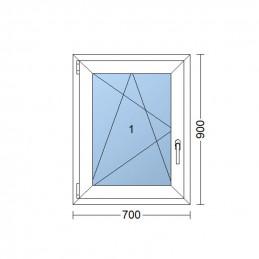 Kunststofffenster   70x90 cm (700x900 mm)   weiß   Dreh-Kipp-Fenster   links   6 Kammern