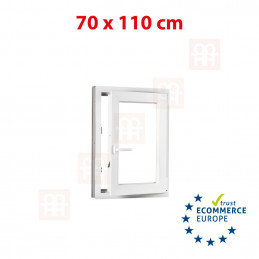 Kunststofffenster | 70x110 cm (700x1100 mm) | weiß | Dreh-Kipp-Fenster | rechts | 6 Kammern