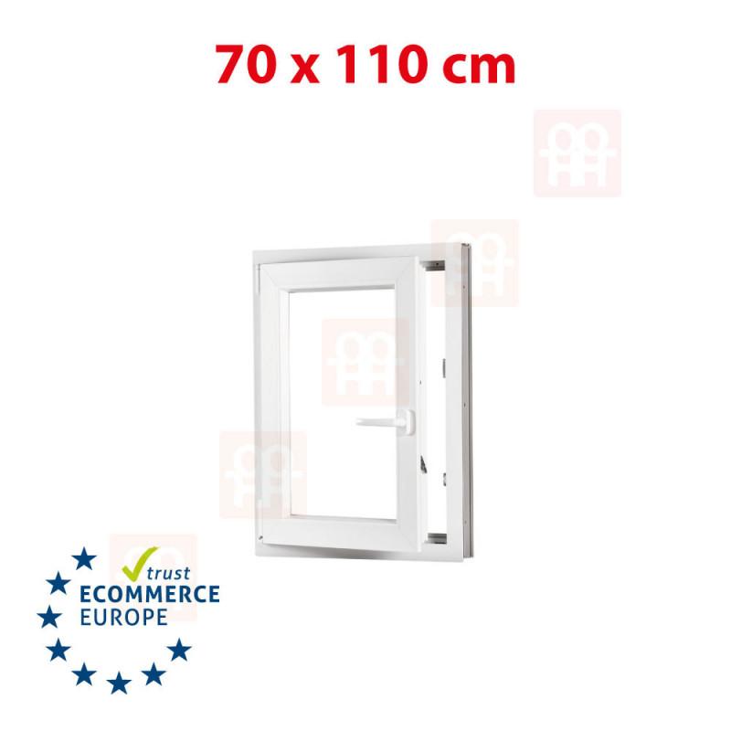 Kunststofffenster   70x110 cm (700x1100 mm)   weiß   Dreh-Kipp-Fenster   links   6 Kammern