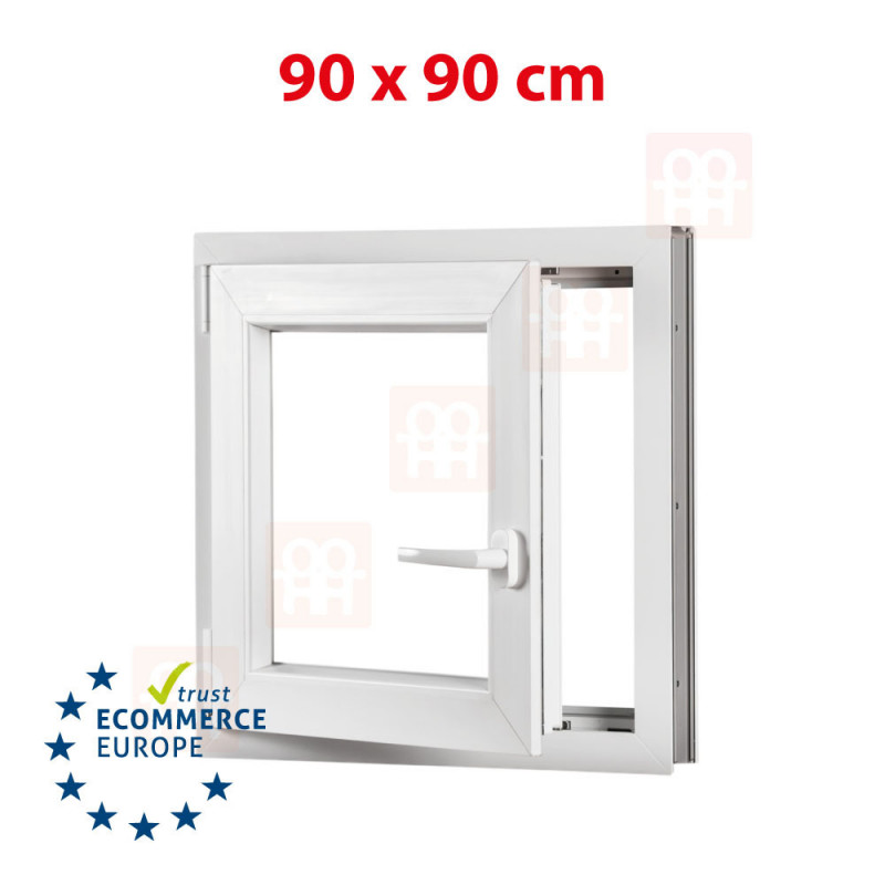 Kunststofffenster | 90x90 cm (900x900 mm) | weiß | Dreh-Kipp-Fenster | links | 6 Kammern