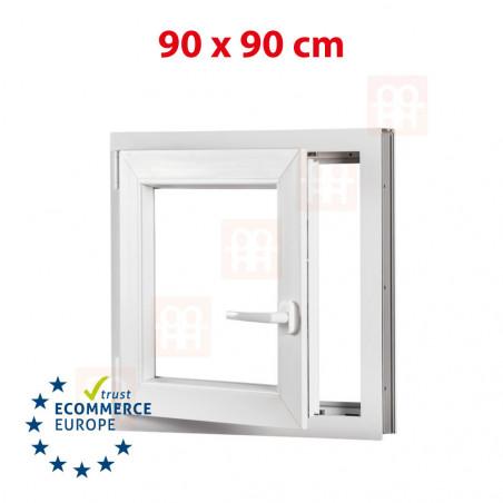 Kunststofffenster | 90x90 cm (900x900 mm) | weiß | Dreh-Kipp-Fenster | links