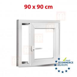 Kunststofffenster | 90x90 cm (900x900 mm) | weiß | Dreh-Kipp-Fenster | rechts | 6 Kammern