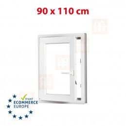 Kunststofffenster | 90x110 cm (900x1100 mm) | weiß | Dreh-Kipp-Fenster | links | 6 Kammern