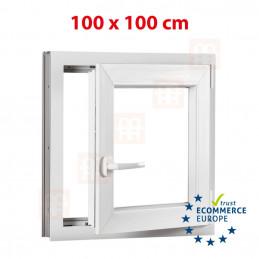 Kunststofffenster | 100x100 cm (1000x1000 mm) | weiß | Dreh-Kipp-Fenster | rechts | 6 Kammern