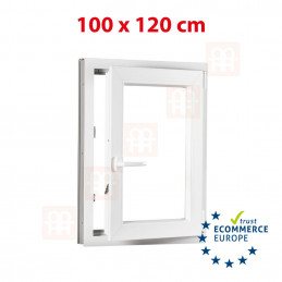Kunststofffenster | 100x120 cm (1000x1200 mm) | weiß | Dreh-Kipp-Fenster | rechts | 6 Kammern