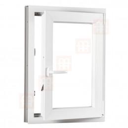 Kunststofffenster   100x120 cm (1000x1200 mm)   weiß   Dreh-Kipp-Fenster   rechts   6 Kammern