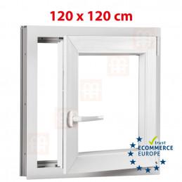 Kunststofffenster | 120x120 cm (1200x1200 mm) | weiß | Dreh-Kipp-Fenster | rechts | 6 Kammern