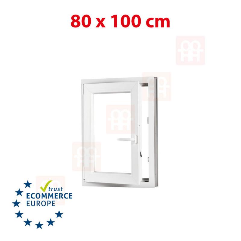 Kunststofffenster | 80x100 cm (800x1000 mm) | weiß | Dreh-Kipp-Fenster | links | 6 Kammern
