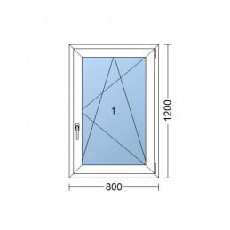 Kunststofffenster   80x120 cm (800x1200 mm)   weiß   Dreh-Kipp-Fenster   rechts   6 Kammern