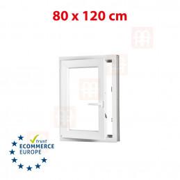 Kunststofffenster | 80x120 cm (800x1200 mm) | weiß | Dreh-Kipp-Fenster | links | 6 Kammern