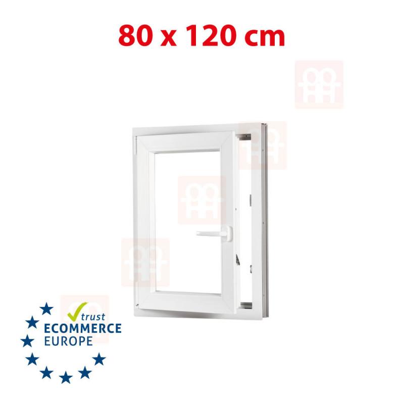 Kunststofffenster   80x120 cm (800x1200 mm)   weiß   Dreh-Kipp-Fenster   links   6 Kammern