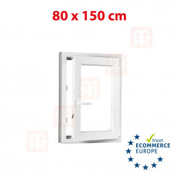 Kunststofffenster | 80x150 cm (800x1500 mm) | weiß | Dreh-Kipp-Fenster | rechts | 6 Kammern