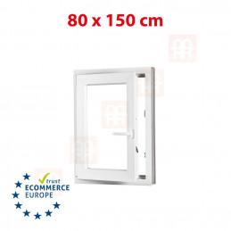 Kunststofffenster | 80x150 cm (800x1500 mm) | weiß | Dreh-Kipp-Fenster | links | 6 Kammern