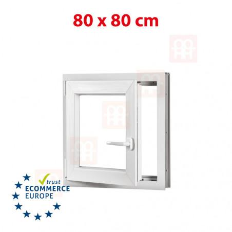 Kunststofffenster | 80x80 cm (800x800 mm) | weiß | Dreh-Kipp-Fenster | links