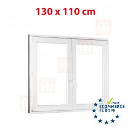 Kunststofffenster | 130x110 cm (1300x1100 mm) | weiß | Zweiflügelige ohne Pfosten | rechts | 6 Kammern