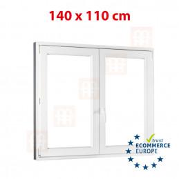 Kunststofffenster | 140x110 cm (1400x1100 mm) | weiß | Zweiflügelige ohne Pfosten | rechts | 6 Kammern