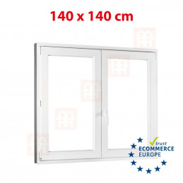 Kunststofffenster | 140x140 cm (1400x1400 mm) | weiß | Zweiflügelige ohne Pfosten | rechts | 6 Kammern
