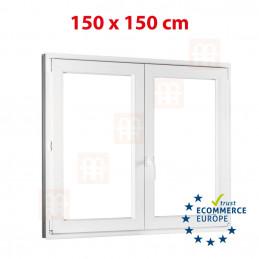 Kunststofffenster | 150x150 cm (1500x1500 mm) | weiß | Zweiflügelige ohne Pfosten | rechts | 6 Kammern