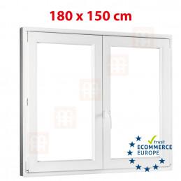 Kunststofffenster | 180x150 cm (1800x1500 mm) | weiß | Zweiflügelige ohne Pfosten | rechts | 6 Kammern