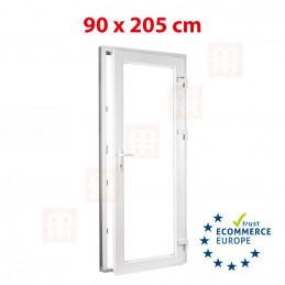 Nebeneingangstür  | 90x205 cm (900x2050 mm) | weiß | 2-fach-Isolierglas| rechts