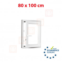 Kunststofffenster | 80x100 cm (800x1000 mm) | weiß | Dreh-Kipp-Fenster | rechts | 6 Kammern