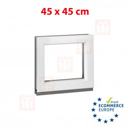 Kunststofffenster | 45x45 cm (450x450 mm) | weiß | festverglast (kann nicht geöffnet werden)