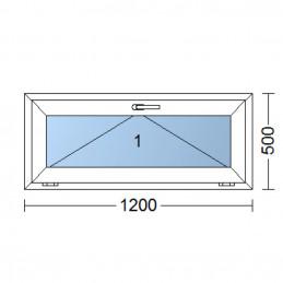 Kunststofffenster   120x50 cm (1200x500 mm)   weiß   Kipp-Fenster