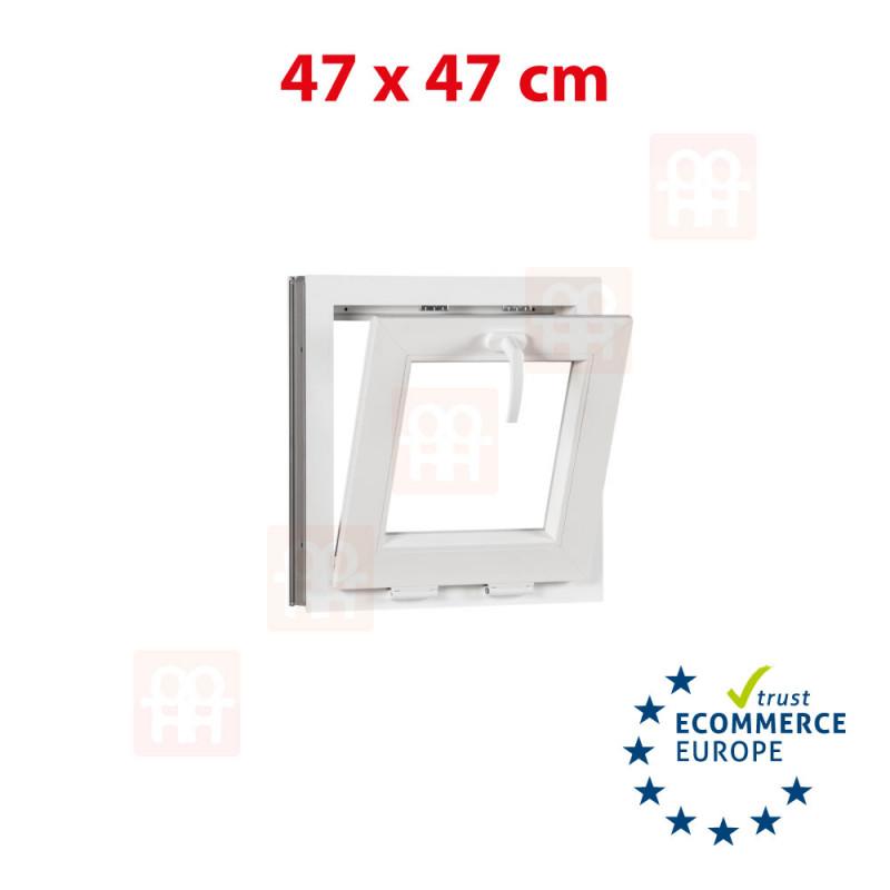 Kunststofffenster   47x47 cm (470x470 mm)   weiß   Kipp-Fenster