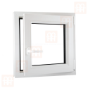 Kunststofffenster | 70x70 cm (700x700 mm) | weiß | Dreh-Kipp-Fenster | rechts | 6 Kammern
